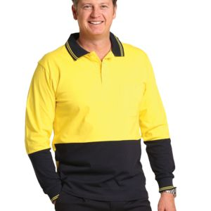 SW36 Cotton Jersey two tone Long Sleeve Safety Polo Thumbnail