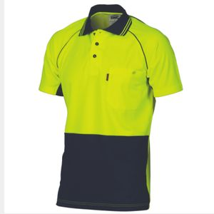 DNC Workwear Hi Vis Cotton Backed Cool-Breeze Contrast S/S Polo 3719 Thumbnail